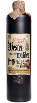 Westerwälder Pfefferminz mit Rum 0,7l mit 32%vol. im hochwertigen schwarzen Tonkrug mit integriertem Ausgießer für tropffreies einschenken. -feine Sparemint-Minze mit echtem Jamaica-Rum vollendet.